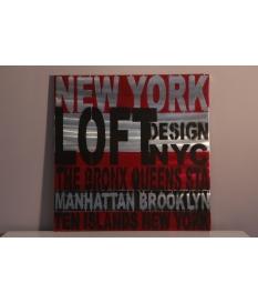 Cuadro New York en rojo y plata
