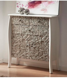 Cómoda madera tallada plata 80x30x90 cm