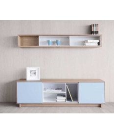 Mueble TV Nordic 232 cm con zócalo y contenedor