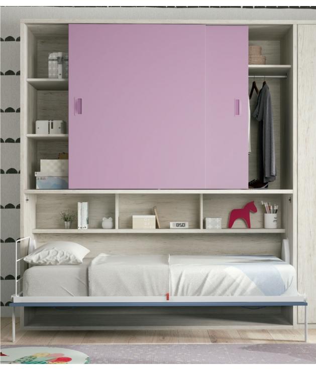 Cama abatible horizontal con armario