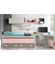 Habitación juvenil cama compacta con armario Basic6