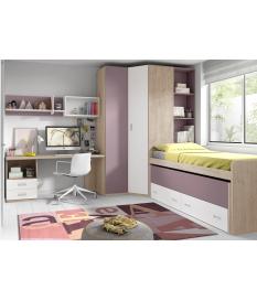 Habitación juvenil cama compacta Basic12