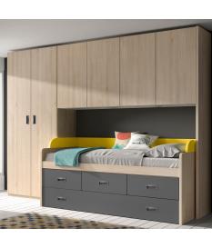 Habitación juvenil armario puente Basic14-1