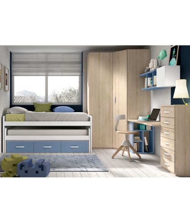 Habitación juvenil armario rincón recto Basic17