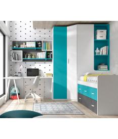 Habitación juvenil armario rincón Basic19