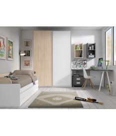 Habitación juvenil armario puertas correderas Basic23