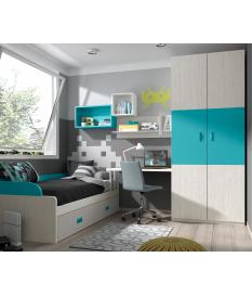 Habitación juvenil armario dos puertas paneles Basic29