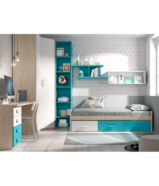 Habitación juvenil cama nido contenedores Basic32