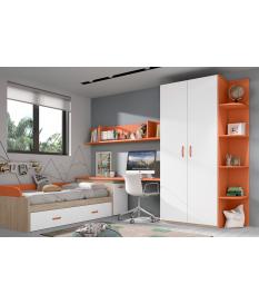 Habitación juvenil armario dos puertas rectas Basic34