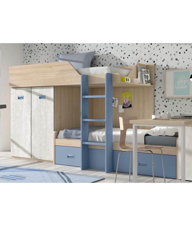 Habitación juvenil cama block con escritorio Basic 38