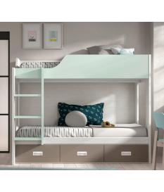 Habitación juvenil litera con escritorio Basic 41