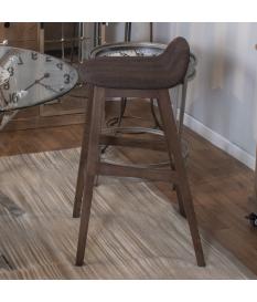 Set 2 taburetes madera y asiento tapizado