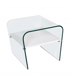 Mesa rincón cristal y madera