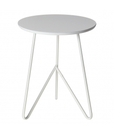 Mesa auxiliar madera roble y blanco diámetro 48 cm