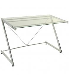 Mesa metal y cristal transparente 124x60x76 cm