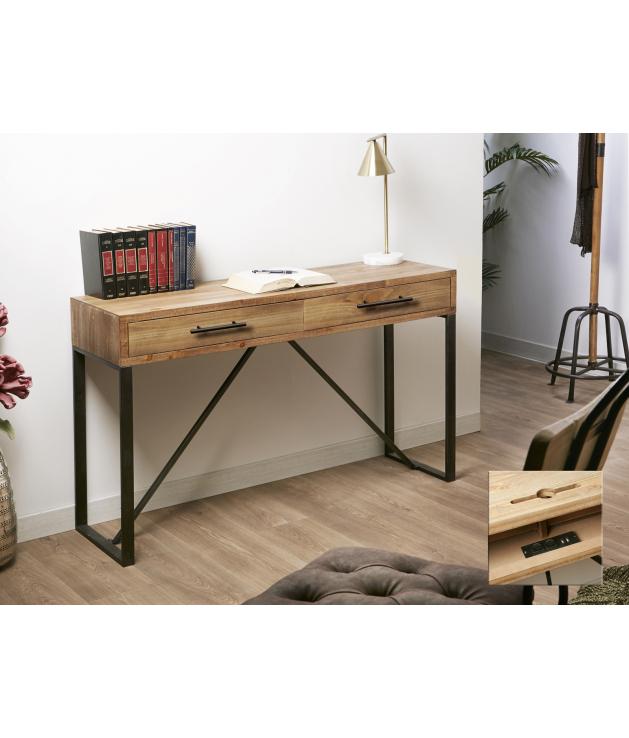 Mesa escritorio con conexiones