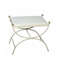 Banqueta forja blanco decape y asiento tapizado