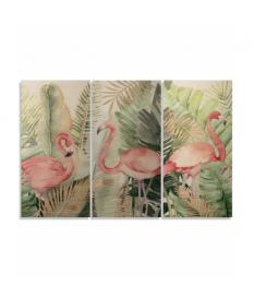Set 3 cuadros lienzo flamencos 180x120cm (medida del set)
