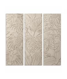 Retablo triptico madera 120x120cm relieve blanco decap
