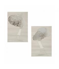 Set 2 cuadros africana plata