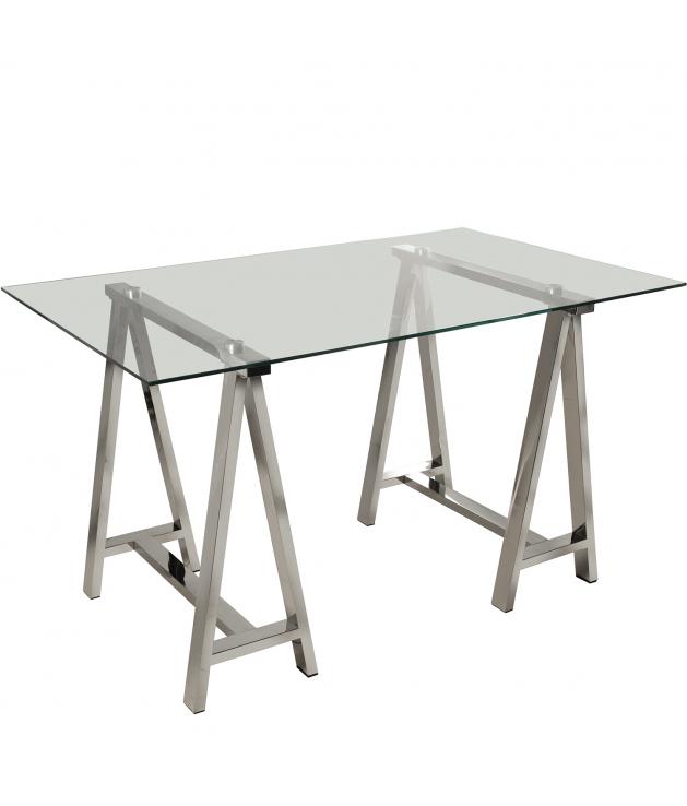 Mesa de comedor encimera de cristal con patas caballete metal