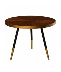 Mesa auxiliar redonda madera acabado nogal