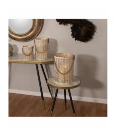 Mesa redonda madera acabado marmol blanco