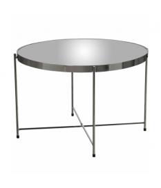 Mesa auxiliar espejo con patas metal cromado