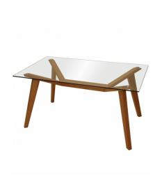 Mesa de comedor encimera cristal patas madera color haya