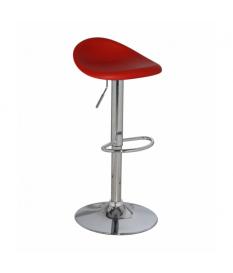 Set 2 taburetes acero cromado con asiento pp rojo, regulable en altura