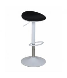 Set 2 taburetes acero cromado con asiento tela negro, regulables en altura