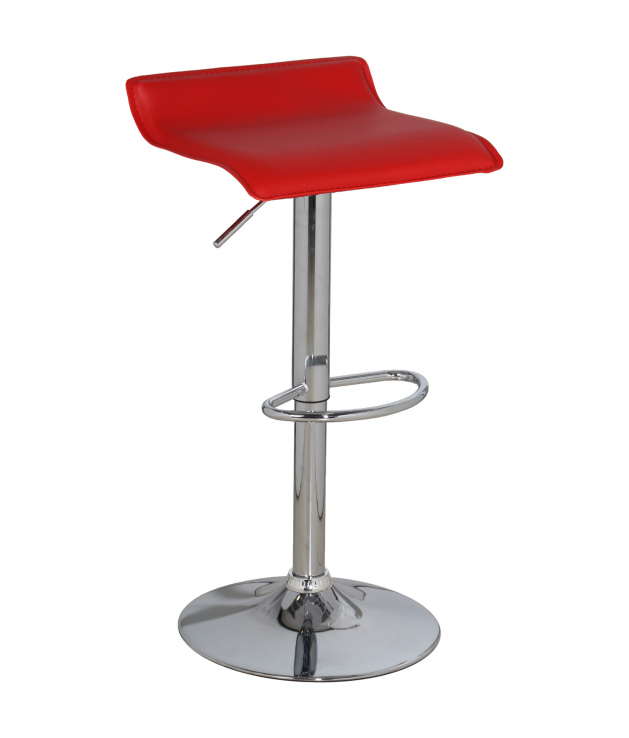 Set 2 taburetes acero cromado c/asiento rojo pvc, regulable en altura