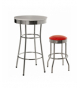 Set 2 taburetes metal asiento pvc rojo con patas de metal cromado