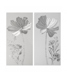 Set 2 cuadros madera flores plata 120x60 cm.