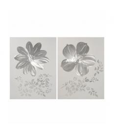 Set 2 cuadros madera flores plata 60x80 cm.