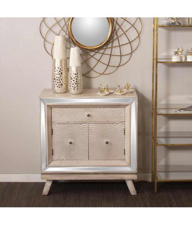 Mueble entrada madera c/espejos, cajón y 2 puertas