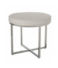 Taburete acero inox.brillo c/asiento polipiel blanco