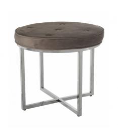 Taburete acero inox.brillo c/asiento terciopelo gris