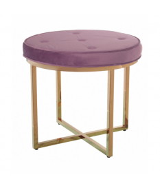 Taburete metal oro mate c/asiento terciopelo rosa