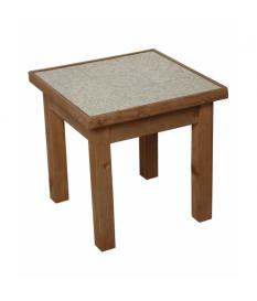 Mesa esquina madera c/sobre cristal-