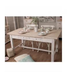 Mesa de cocina con 4 cajones madera blanco decapé