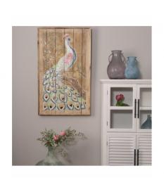 Cuadro retablo madera c/adornos pavo real