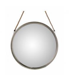 Espejo metal plateado con colgador cuerda pequeño