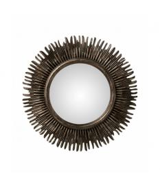 Espejo redondo resina gris oscuro sol