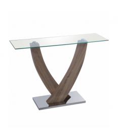 Consola recibidor cristal, madera y metal
