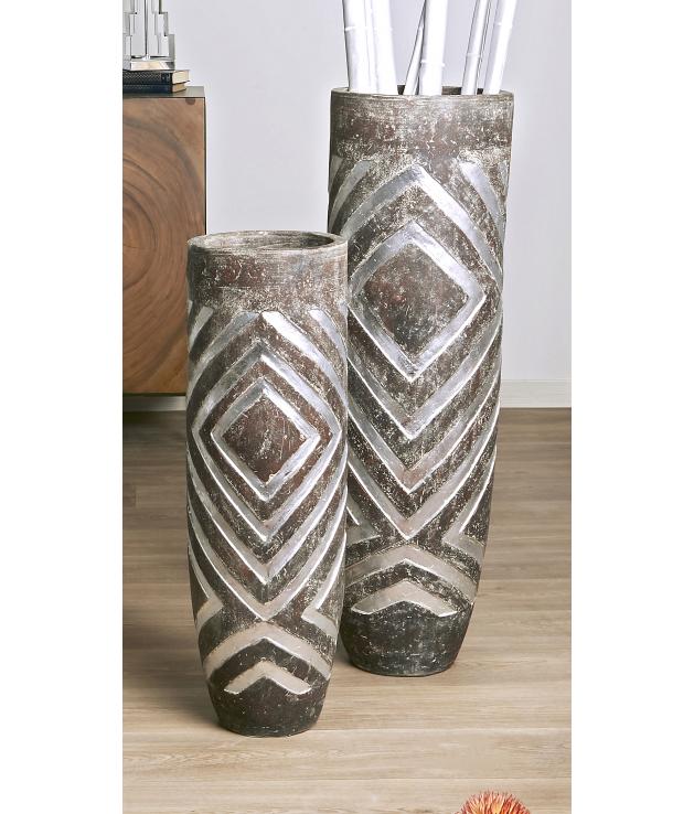 Set dos jarrones decorativos terracota Thora plata y marrón