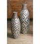 Set dos jarrones decorativos terracota Yanara plata y marrón