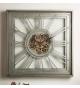Reloj de pared mecanismo visto plata envejecida