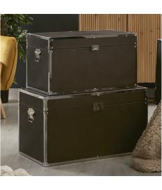 Set dos baúles polipiel marrón oscuro