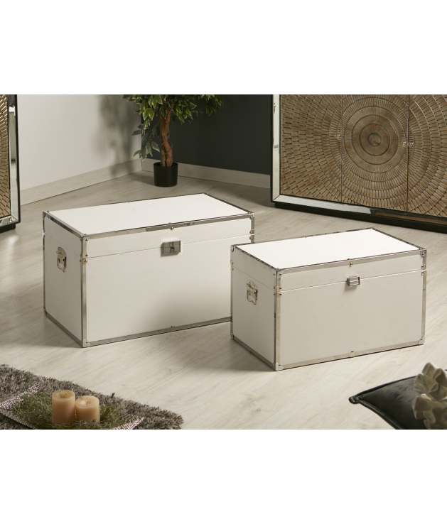 Set dos baúles polipiel blanco y cromo